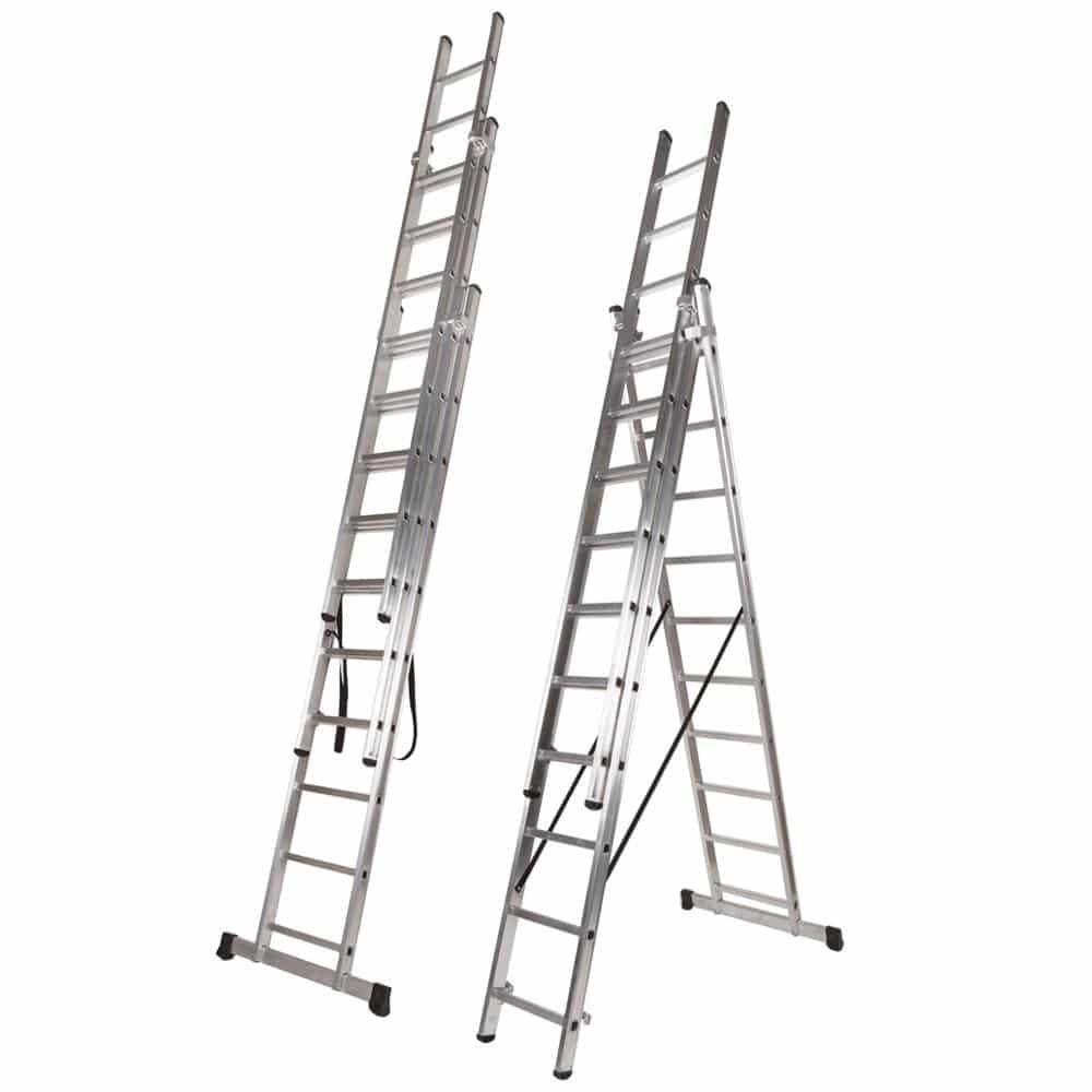 Escada Tripla de Alumínio FERRAL - Degrau Quadrado