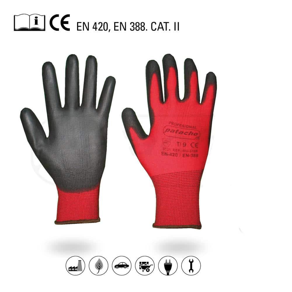 Luvas de Poliéster Vermelho Patacho - T7 T8 T9 e T10