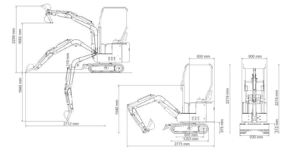 Mini Escavadora Giratória a Gasóleo Yanmar TT1000K 360º