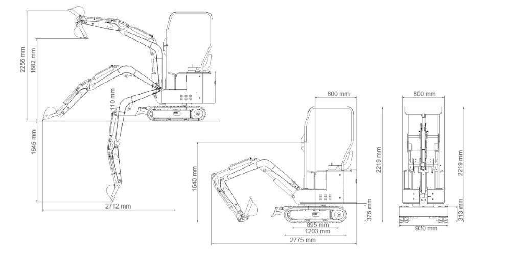 Mini Escavadora Giratória a Gasóleo KOOP1000K 360º