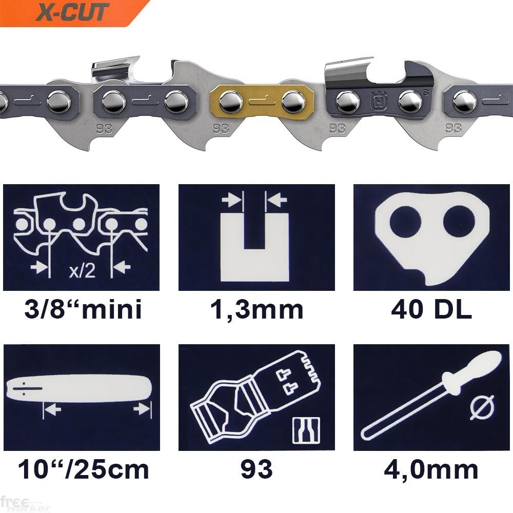 Corrente X-CUT para Motosserra Husqvarna 10'' -  3/8'' | .050 | 1,3mm | 40elos