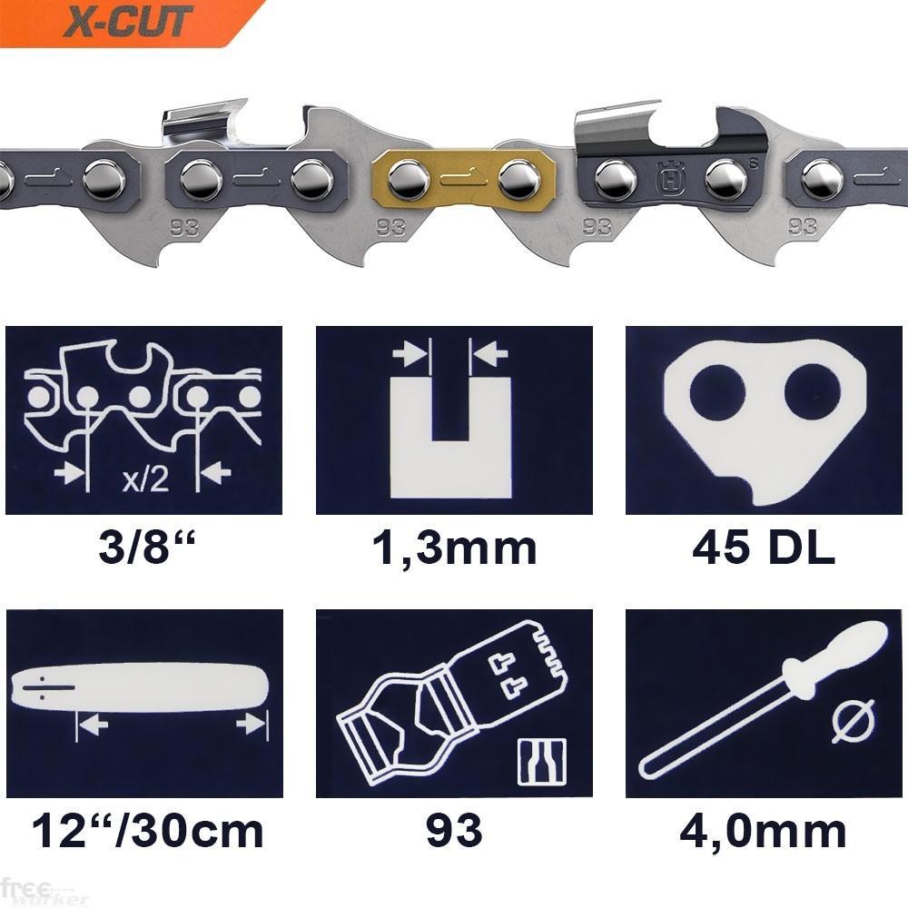Corrente X-CUT para Motosserra Husqvarna 12'' 30cm -  3/8'' | 0.325 | 1,3mm | 45elos