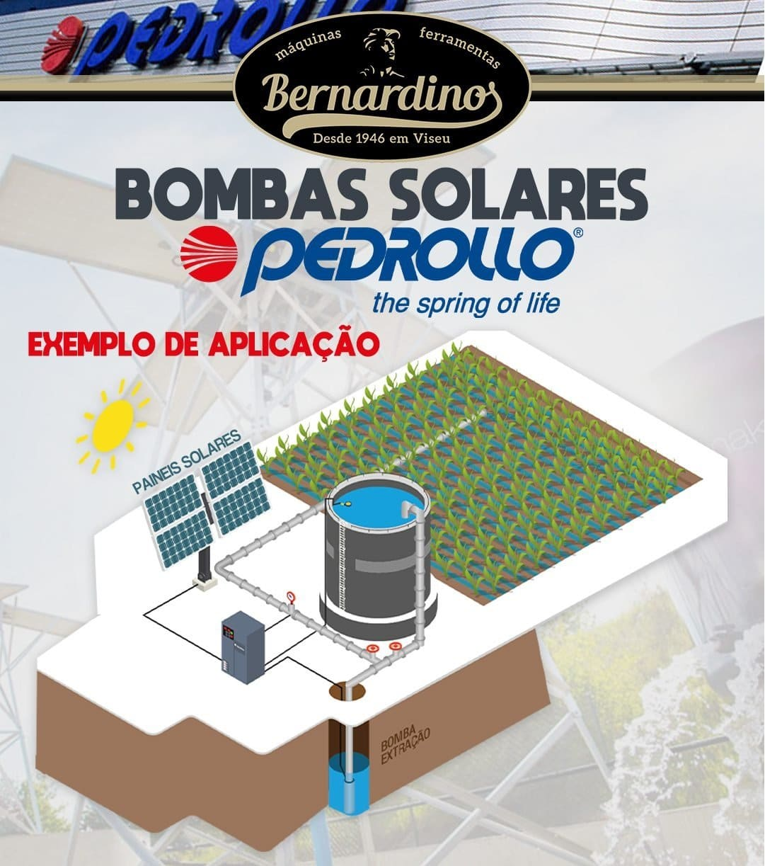 Kit Pedrollo Fluid Solar 2/14 - 140mts - 4500 l/h