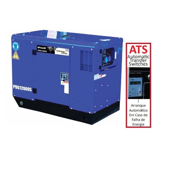 Gerador Diesel trifásico insonorizado 13,7 kVA PDG12000S-3 c/ ATS