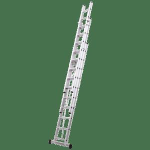 Escada ELITE Tripla de Alumínio FERRAL com Corda - Degrau Quadrado 3M